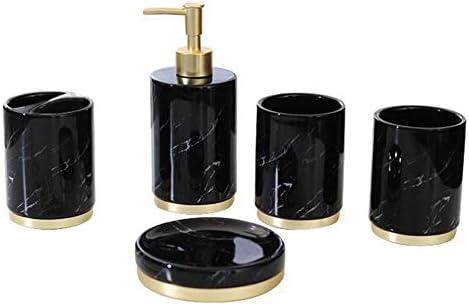 FXin 歯ブラシホルダー、マウスウォッシュカップ、液体ボトル、石鹸皿など、5ピースのバスルームアクセサリー、セラミックの黒と白のモダンなミニマリストスタイルのバスルームアクセサリー シャワー室 (Color : Black)