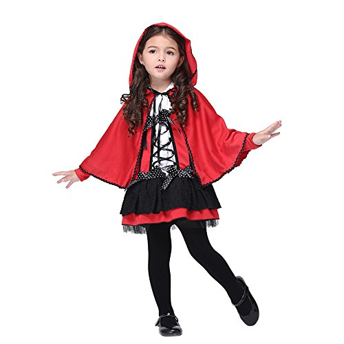 [Drizzle Girls Halloween Costumes Fairytale Cosplay Dress Up Little Red Riding Hood for Kids,Medium] (Red Hood Joker Costume)