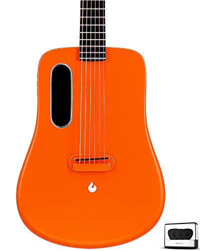 LAVA ME 2 Carbon Fiber Guitar 36 inch with effects without plugging in, Acoustic-Electric Guitar Travel Guitar with Guitar Picks, Hard Case (Freeboost-Orange)