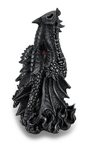 Metallic Black Gothic Red Eyed Dragon Incense Burner Box Statue