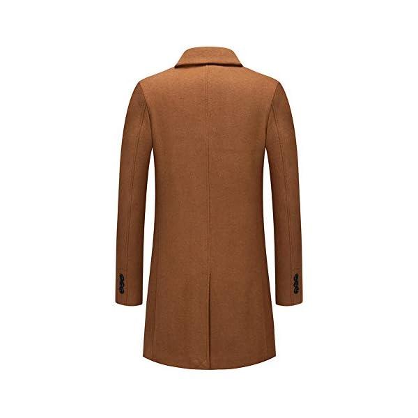 Manteau Homme Hiver Mi-Long Trench Coat en Laine Chaud Veste Slim Pardessus Parka Couleur Unie Coupe Vent