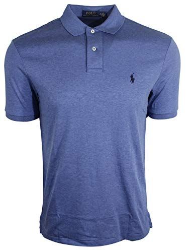 (Polo Ralph Lauren Mens Medium Fit Interlock Polo Shirt-Liquid Blue (Small, Blue Heather (Navy Pony)))