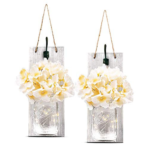 TEEHOME Rustic Hanging Mason Jar Sconces Home Decor (2 pcs) with LED Fairy Lights, Vintage Wrought Iron Hooks Kitchen Decoration, Silk Hydrangea Flower LED Strip Lights Design
