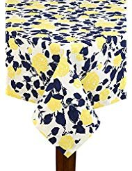 (Kate Spade Garden Rose Navy/Yellow Tablecloth, 60-by-102 Inch Oblong Rectangular)