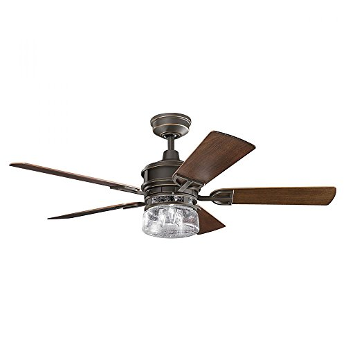 Olde Bronze Lyndon Patio 52In. Outdoor Ceiling Fans With 5 Blades - Includes Light Kit And 4.5In. Downrod ()