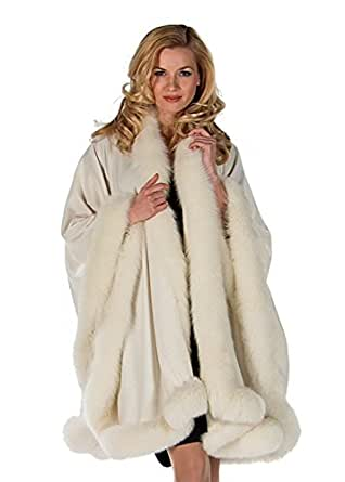 Madison Avenue Mall Real Fox Fur Trimmed Shawl Wrap Cape