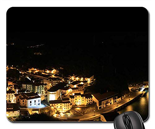 (Mouse Pad - Panoramic City Lights Night People Port Pear)
