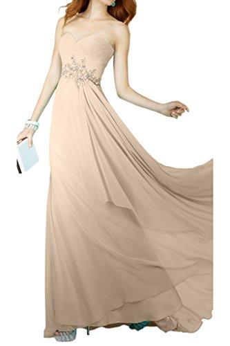 Avril Robe En Mousseline De Soie Chic, Longue Champagne Robe Empire De Demoiselle D'honneur De Soirée Bustier