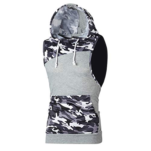 Emimarol Men's Summer Blouse Camouflage Patchwork Sleeveless T Shirt Tank Tops Hooded Blouse with Pocket