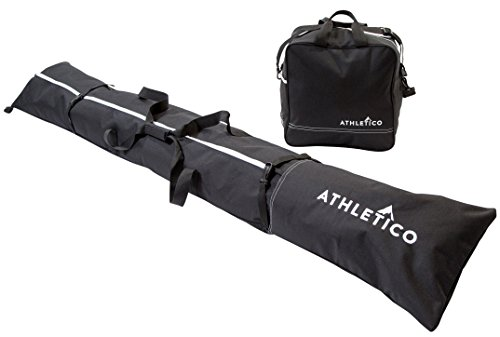 Athletico Two-Piece Ski and Boot Bag Combo | Store & Transport Skis Up to 200 CM and Boots Up To Size 13 | Includes 1 Ski Bag & 1 Ski Boot Bag (Black) 600 Denier Polyester Tote