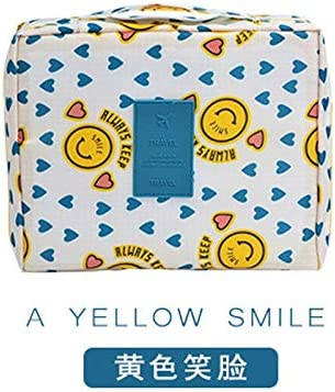 ZZFF 多機能トラベルコスメティックバッグの女性のメイクアップバッグトイレタリーオーガナイザー防水女性ストレージメイクアップケースマルチ (Color : Yellow smiley face)
