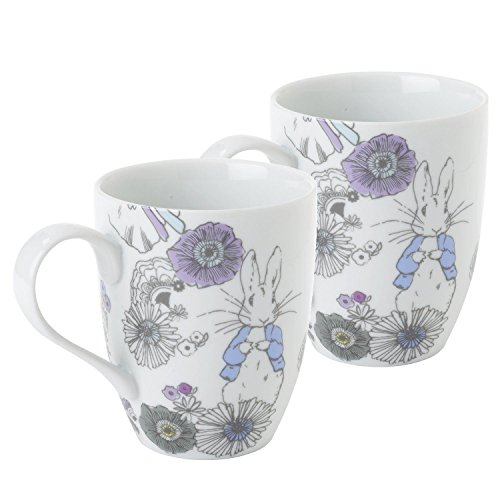 Stow Green Beatrix Potter Peter Rabbit Contemporary Porcelain Mug Cup Set of 2 | Gift Boxed