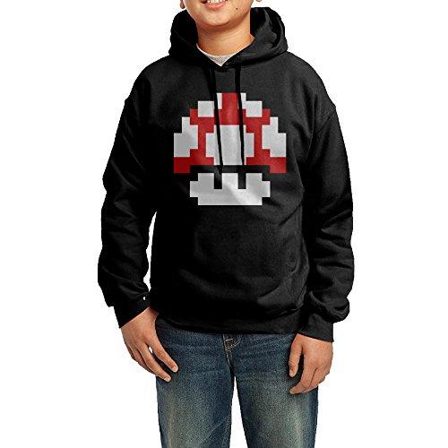 Custom Dance Costumes Makers (GGDD Youth Mario Mushroom Mountaineering Funny Hoodie Hooded Sweatshirt Casual Style L Black)
