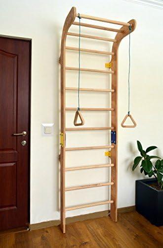 Productos certificados Dani LLC. Barra de madera para gimnasio en casa de interior KL-1 escalera sueca con anillos de gimnasia barras de pared de madera escalera gimnasia escalera bar escalada calidad europea: