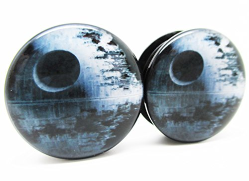 (Pierced Republic Star Wars Death Star Ear Plugs - Acrylic Screw-On - 10 Sizes - Brand NewPair (2 Gauge (6mm)))