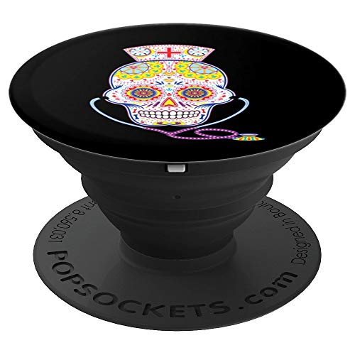 Nurse Sugar Skull Day Of The Dead Halloween Color - PopSockets Grip and Stand for Phones and Tablets ()