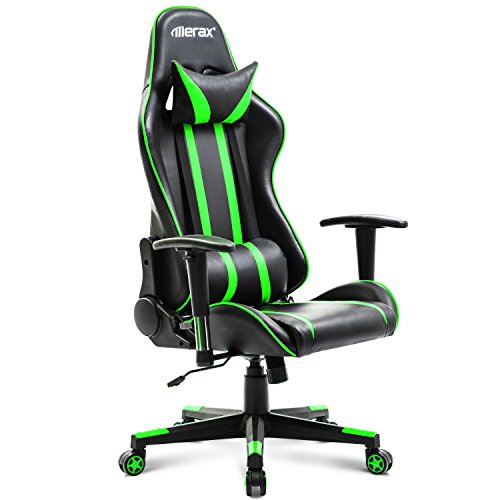 Merax Racing Gaming Style High Back PU Leather Metal Frame Swivel Office Chair (Green Leather Frame)