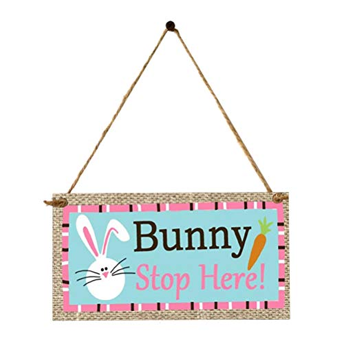 Amosfun Easter Wall Plaque Easter Gift Bunny Stop Here Wooden Wall Sign Easter Rabbit Printing Hanging Board for Home Store Wall Door Festival Decor