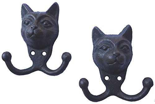 LuLu Decor, Cast Iron Cat face Key Hooks, Solid Sturdy Hooks, Ideal for cat Lovers (Dual Hook) ()