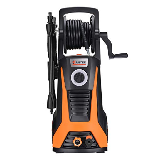 KANYEE 2000 PSI 1.5 GPM Electric High Pressure Washer with Spray Gun, Adjustable Nozzle, Angle Nozzle, Surface Cleaner, Onboard Detergent Tank, Hose Reel & Rolling Wheels