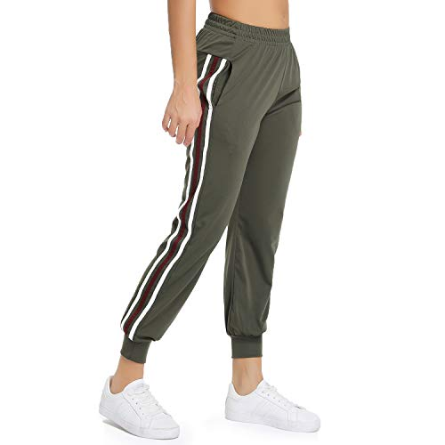 FITTOO Women's White Stripe Side Patchwork Panels Jogger Pants Ankle Elastic Running Sweatpants Army Green M - Fashion Sweatpants