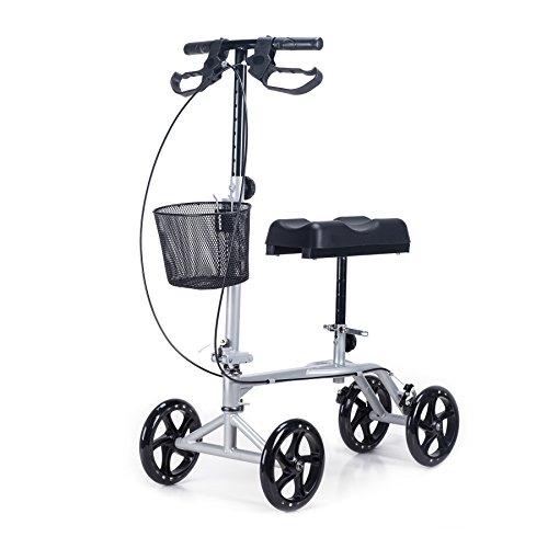 CO-Z Steerable Foldable Knee Walker Roller Scooter with Basket, 8'' Antiskid Rubber Wheels, Safety Double Brakes, Leg Walker Crutch (Silver) by CO-Z