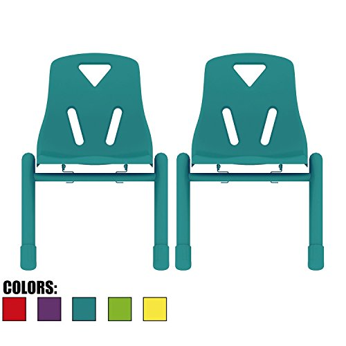Cheap 2xhome Set of 2 Kids Chair Stackable Chairs Molded Plastic Metal Leg for Preschool School Child Children 2 3 4 5 Years Old for Home Kitchen Dining Room Activity Table Desk Bedroom Daycare Blue Teal