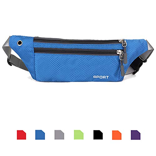 - Ausion Running Belt Fanny Packs, UltraSlim Adjustable Elastic Sport Travel Waist Pack Hands Free Holds Cell Phones Including iPhone X 8 7 6 6s Plus Galaxy S9 S6 S7 Edge S8 Plus Note 8, ETC, Blue