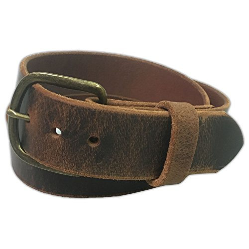 - Jean Belt, Brown Crazy Horse Water Buffalo Leather, 9 Ounce - Antique Buckle - Handmade in the USA! By Exos - Size: 32