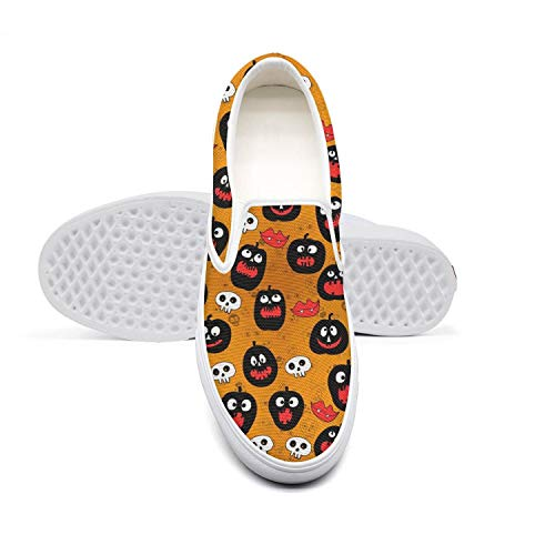 Fun Halloween Decorations Skull Pumpkin Men's Shoes Canvas Sneakers White Slip on Pretty Casual Sneakers Running Shoes -