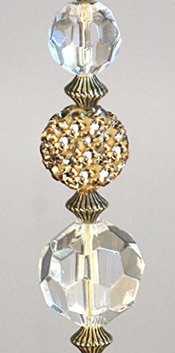 Glimmering Gold Rhinestone and Clear Crystal Glass Ceiling Fan Pull Chain