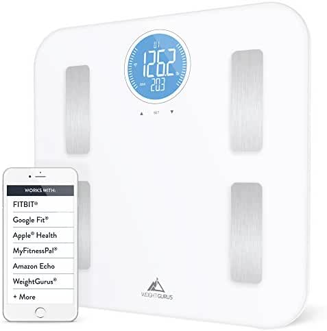 Weight Gurus WiFi Smart Connected Body Fat Scale w/ Large Digital Backlit LCD, Precision/Accurate Measurements include: BMI, Body Fat, Muscle Mass, Water Weight, and Bone Mass