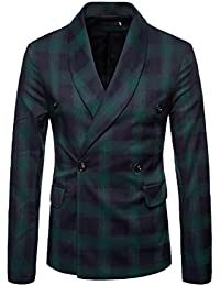 Men's Casual Plaid Pattern Classic Square Collor Double-Breasted Suit