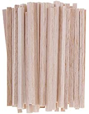 50 Pieces Square Unfinished Balsa Wood Stick Wooden Dowel Rod for Kids Model Making DIY Craft Home Wedding Party Decoration 50/80/110mm - Wood, 110mm HighNice ProcessedProfessional Processed