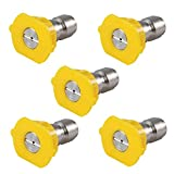 Podoy Pressure Washer Sprayer Nozzle Tip 1/4'' Size 3.0, Yellow 15 Degree Stainless Steel for 1500 Psi, 2000 Psi & 2500 Psi Pressure Washer (Pack of 5) (Color: Yellow)