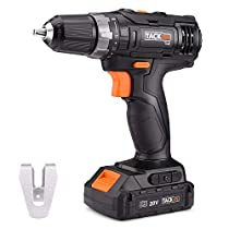 Cordless Drill Driver, Tacklife 20V MAX Lithium-Ion 3/8, 2-Speed Max Torque 265 in-lbs 19+1 Position with LED, Compact Battery Cell and Charger Included |PCD06B