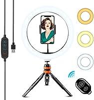 """WOWGO LED Lumière Anneau avec Trépied, 10"""" Ring Light avec Télécommande Wireless pour Phone/Youtube/Diffusion en..."""