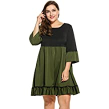 Meaneor Women O-Neck Plus Size Patchwork Pleated Loose Summer Dress