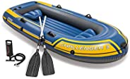 Intex 68370EP Challenger 3 Inflatable Raft Boat Set with Pump and Oars, Yellow