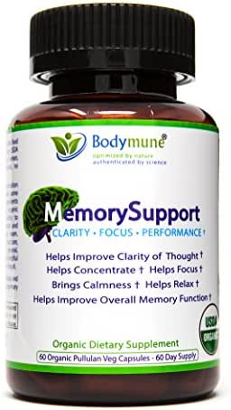 Natural Organic Memory Support | Ginko Biloba | Ashwagandha | Brahmi | Vegan Omegas Optimal Nutrition Memory Support for Dementia Mental Exhaustion by Bodymune | 2 Month Supply | Gluten-Free Non GMO