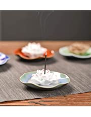 Incense Holder for Sticks, Ceramic Handicraft Incense Burner Bowl,White Blooming Lotus Ash Catcher Tray 4.1In, for Your Family and Friends. The Color at The Bottom simulates a Lotus Pond