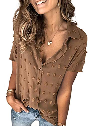 Sidefeel Womens V Neck Chiffon Blouse Pom Pom Long Sleeve Button Shirt Tops