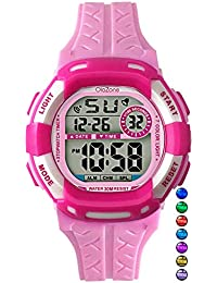 Kids Watch Grils Digital 7-Color Flashing Light Water...