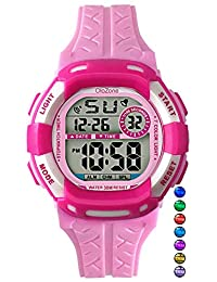 Kids Watch Girls Digital 7-Color Flashing Light Water Resistant 100FT Alarm Watch for Age 4-10 485 (pink)