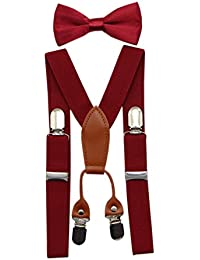 JAIFEI Toddler Kids 4 Clips Adjustable Suspenders and Matching Bow Tie Set (Burgundy)