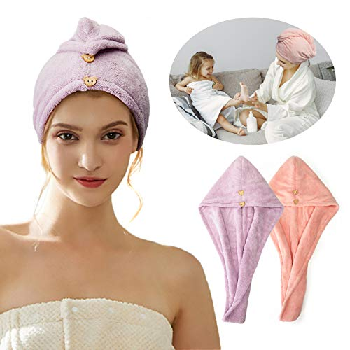 Hair Towel Wraps for Women Long Hair, Double-Deck Microfiber Hair Towel for Curly Hair Quick Magic Hair Dry Hat Super Absorbent Soft Hair Drying Towels, Fast Drying Never Falls Off Pink Purple
