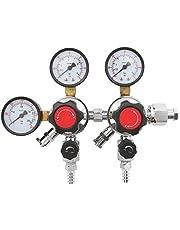 YaeTool Dual Pressure Gauge Beer CO2 Regulator 0-60 PSI Working Pressure CGA-320 Inlet 3/8'Outlet Gas 0-3000PSI