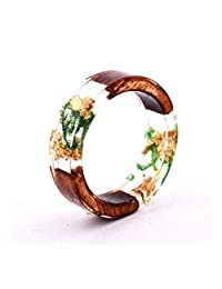 Womens Mens Ring Novelty Handmade Wood Resin Ring with Flowers Plants Inside Women Girls Wooden Jewelry Ring Trendy Lovely Statement Ring Hot