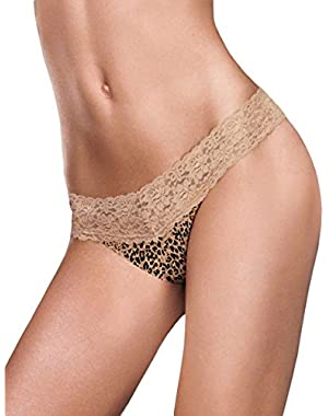 Dream Thong with Lace_Neutral Snow Leopard_S/M