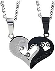 Couple Heart Shaped Necklace Pendant